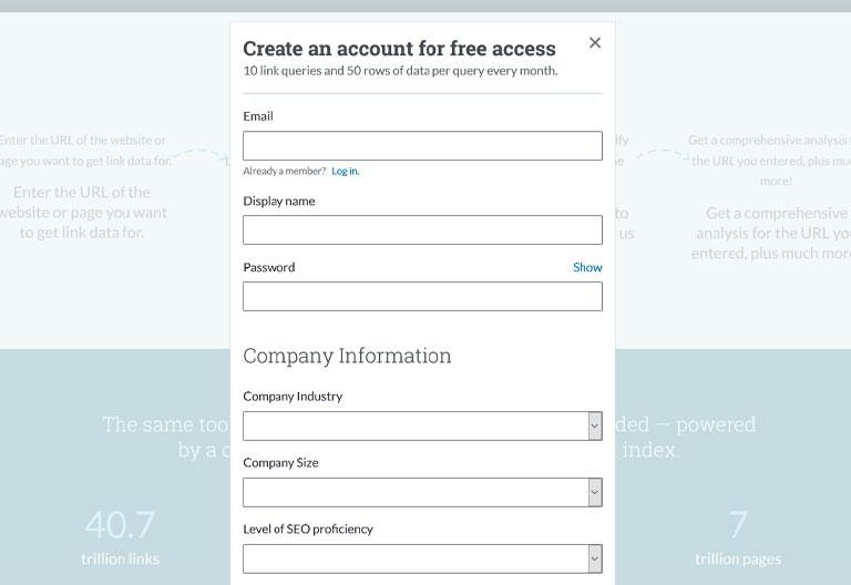 ثبت نام در وب سایت moz